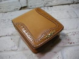 【手縫い】 Medallion short wallet (Natural)