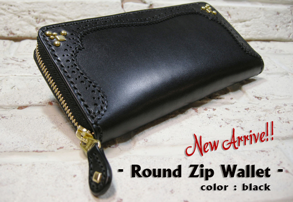 Round Zip Wallet 【M】 Black